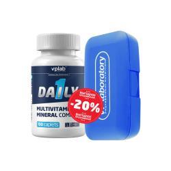 "Наборы (стаки) ""VPLab Daily 1 100 caplets + Pill Master box Blue"" (Производитель VPLab Nutrition)"