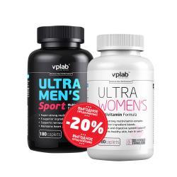 "Наборы (стаки) ""VPLab Ultra Mens Sport Multivitamin Formula 180 caps + Ultra Women Multivitamin Formula 180 caps"" (Производитель VPLab Nutrition)"